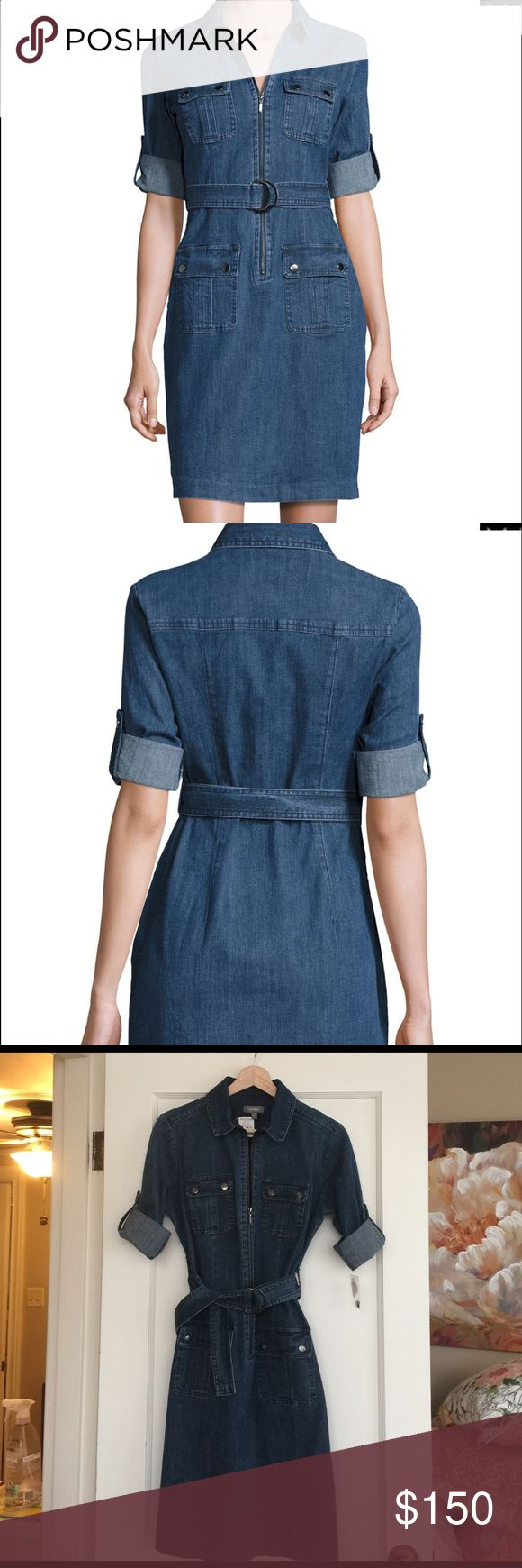 Neimun Marcus denim shirt dress. NWT Rolled sleeve belted shirt dress. There is stretch in the fabric which makes it very easy and comfortable to wear. Neiman Marcus Dresses