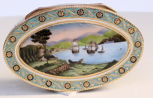A Gold & enamel snuff box made for the Turkish market, the lid painted with a Harbour scene, as is the base with four panels around the sides also with harbour scenes Swiss c180
