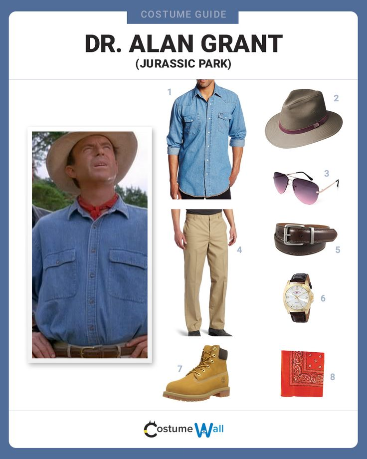 Dress in costume as Dr. Alan Grant, a leading paleontologist, who visits dinosaur theme park in the movie Jurassic Park.