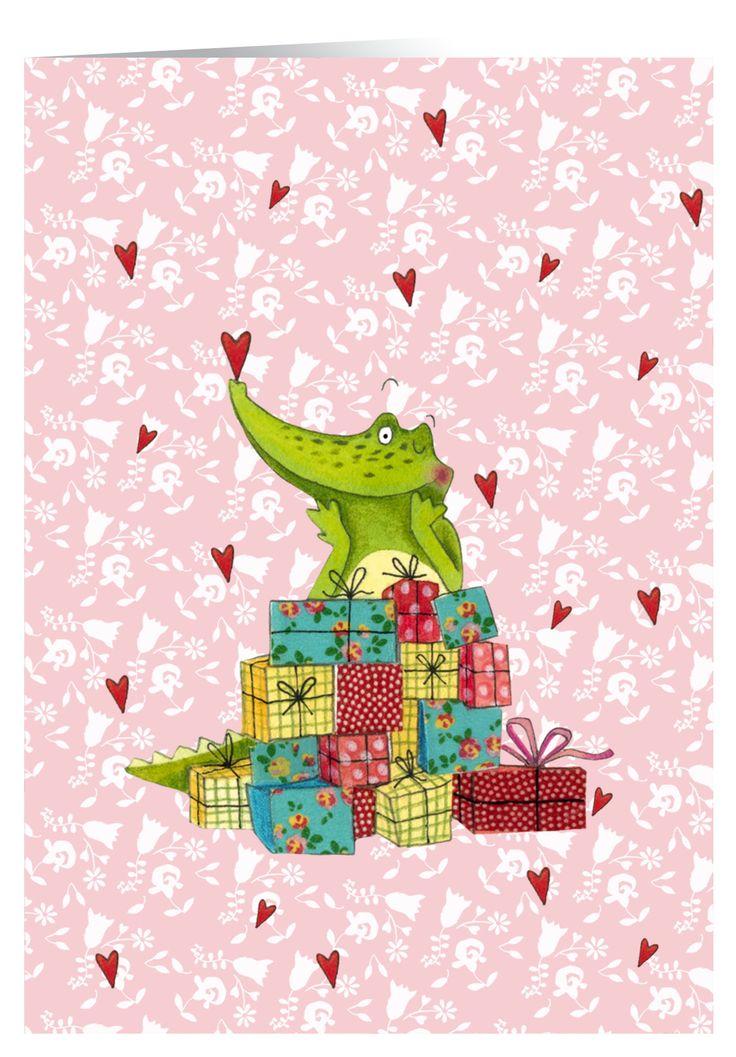 Garantiert zum Liebhaben. Das süße Krokodil von Katja Jäger gibts auch als Karte. Zum #Geburtstag, #Valentinstag oder einfach so für den liebsten #Schatz