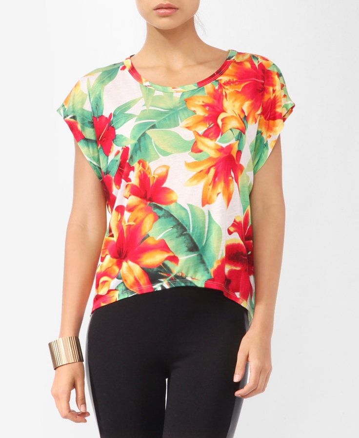Tropical Floral Print Top, $13.80 | #FOREVER21