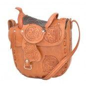 Lederen zadel handtas - natuurlijk bruin - 25,4 x 23 cm