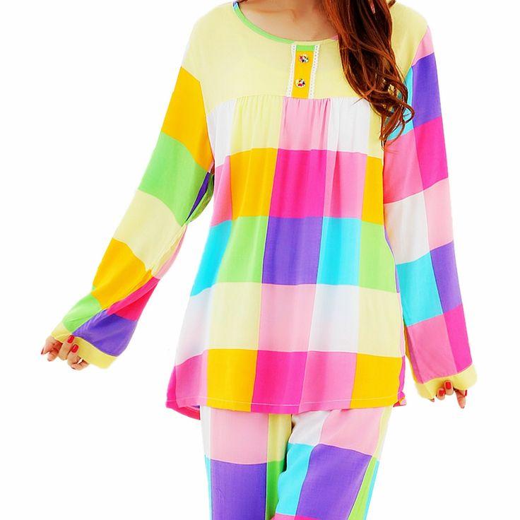 Fashion Women Sleepwear Pajamas Set Ladies Long Sleeve Cotton Cute Nightgown #Daisland #PajamaSets #Everyday