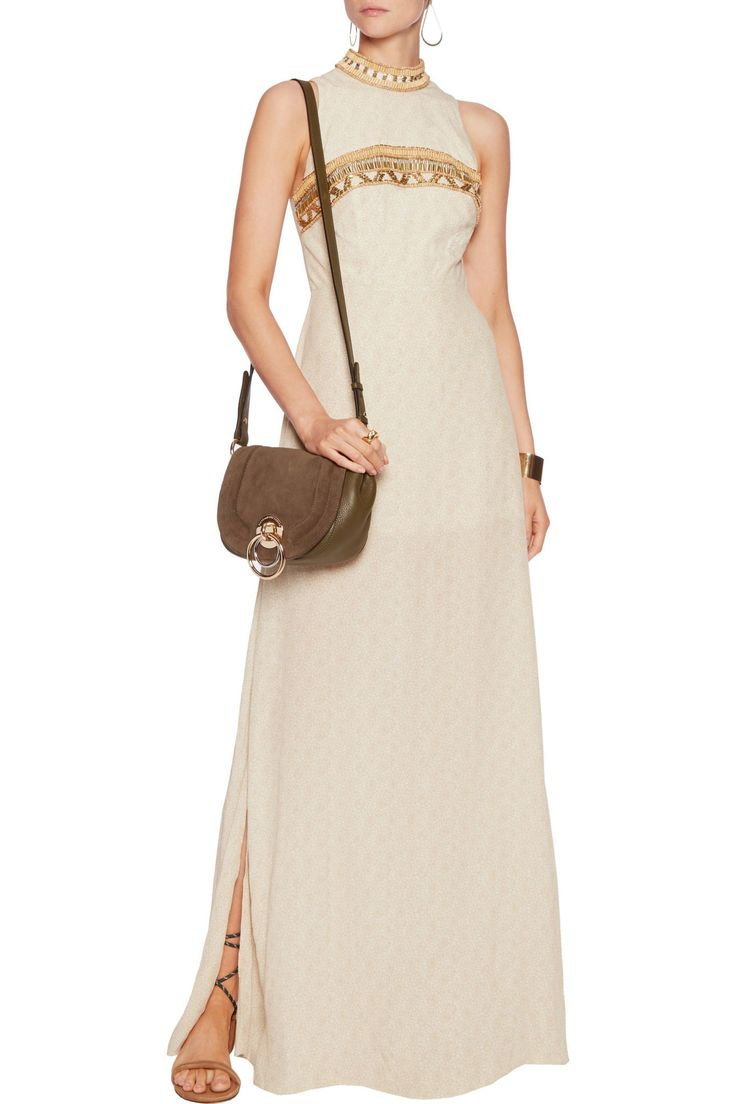 Bead and sequin-embellished printed crepe maxi dress   CAMILLA   Sale up to 70% off   THE OUTNET