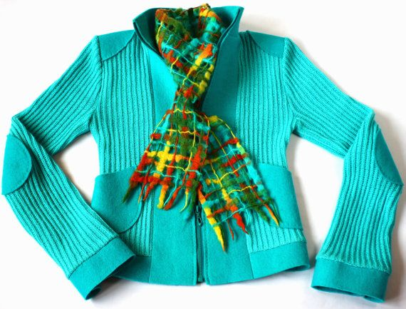 Jacket turquoise felted and knitted-Turquoise knit jacket-Turquoise wool jacket-Wool felt coat-knitted and felted coat-hand knit coat-36s