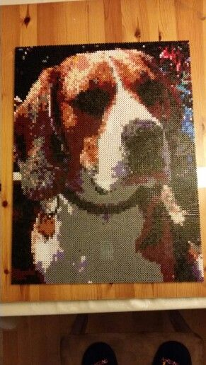 My dog  #dog #beagle #perler #hama #pearlbeads #big #brown #christmasgift  #pet #animal #hobby #creative #black #love