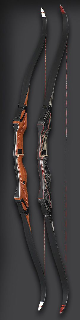 Fred Bear Takedown Recurve. This one features hinges like Hawkeye's bow instead of the usual bolts. This makes it faster to store the weapon.