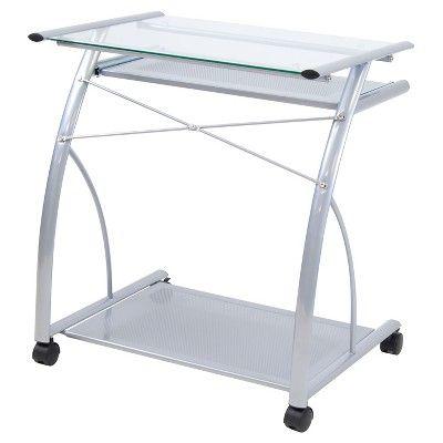 L Computer Cart - Silver / Clear Glass - Calico Designs