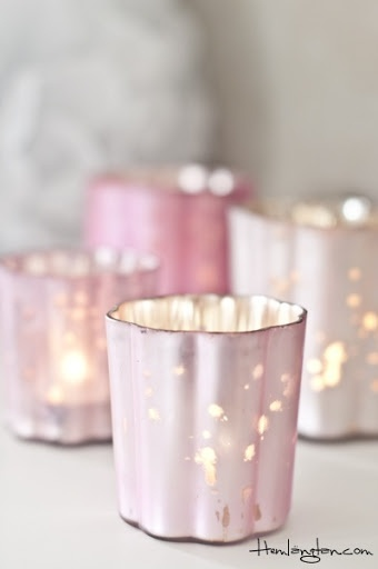 Pretty pink 'mercury' glass votives