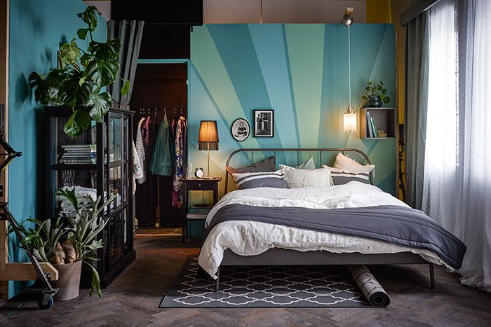 From Dutch Ikea newsletter, blue retro bedroom with plants