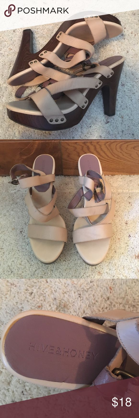 Hive and Honey Cream Strappy Heels Hive and Honey cream strappy heels size 10. In good condition but you can see a little wear on the shoes. Hive & Honey Shoes Sandals
