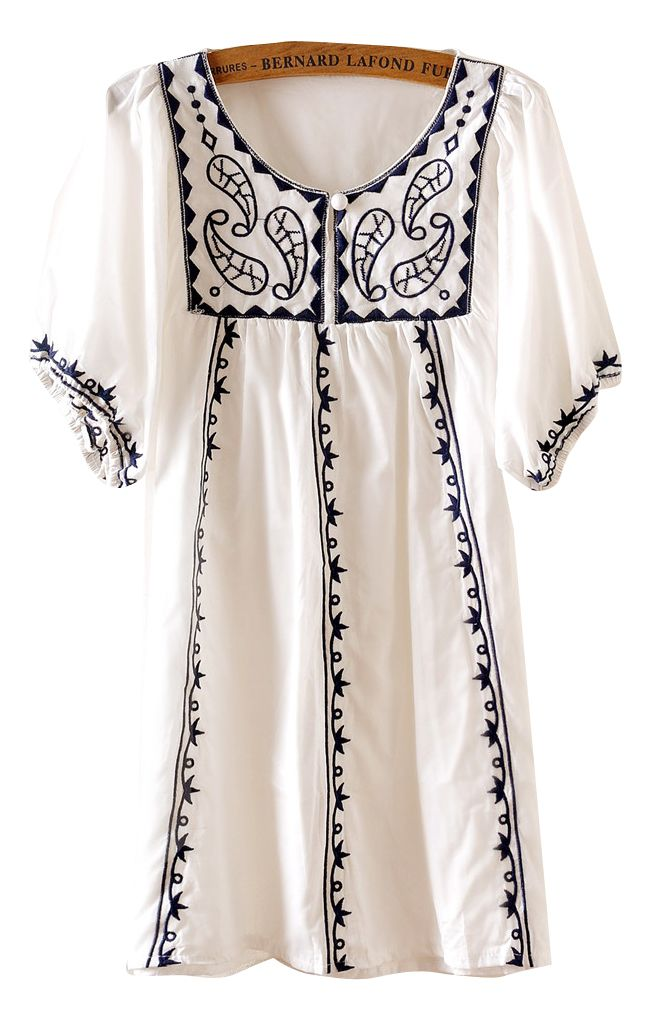 White Puff Sleeve Embroidery Triabl Tunic Dress