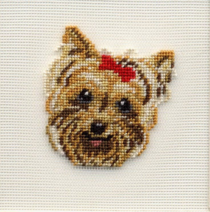 Yorkshire Terrier silk gauze kit from Kreinik using Silk Mori floss on 40-count silk gauze.