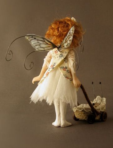 """""""Annie and her bug"""" … fairy, polymer clay ... by fairystudiokallies"""
