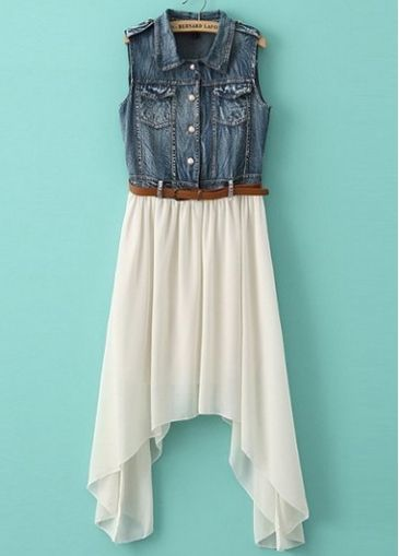 Pretty Turndown Collar Sleeveless Denim Dress with Belt