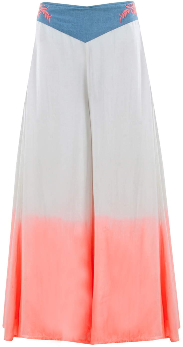 Ombre palazzos with neon embroidery by SHIVANGI SAHNI. Shop at http://www.perniaspopupshop.com/whats-new/shivangi-sahni-6482