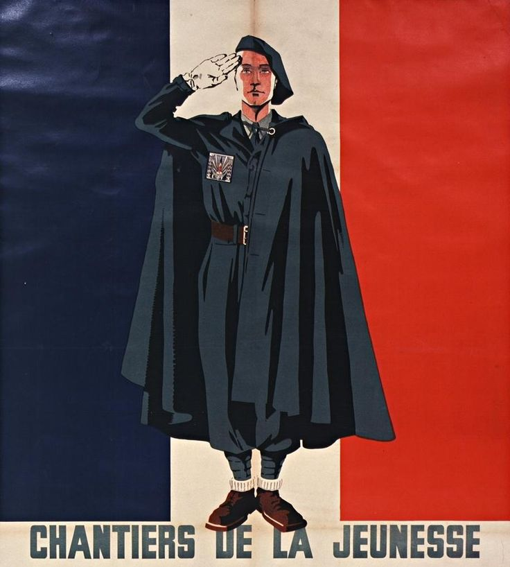 """Formation of the Youth. The ,,Chantiers de la Jeunesse"""" were a Vichy-sponsored youth paramilitary organisation active between 1940 and 1944. Pin by Paolo Marzioli"""