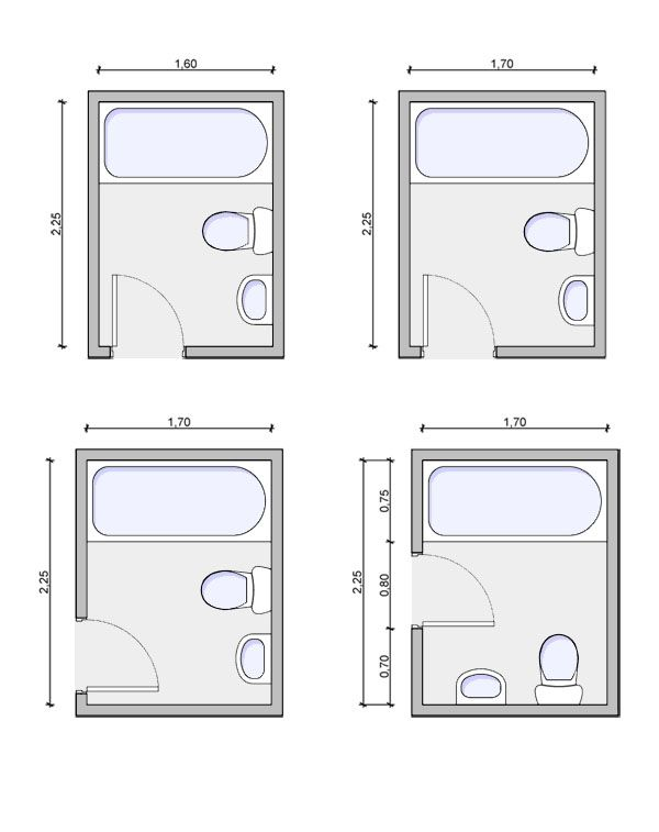 Very Small Bathroom Layouts  bathroomlayout12 bottom left is the layout with door in right