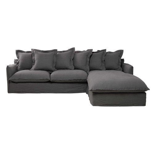 Divano ad angolo grigio chiaro in lino slavato 7 posti