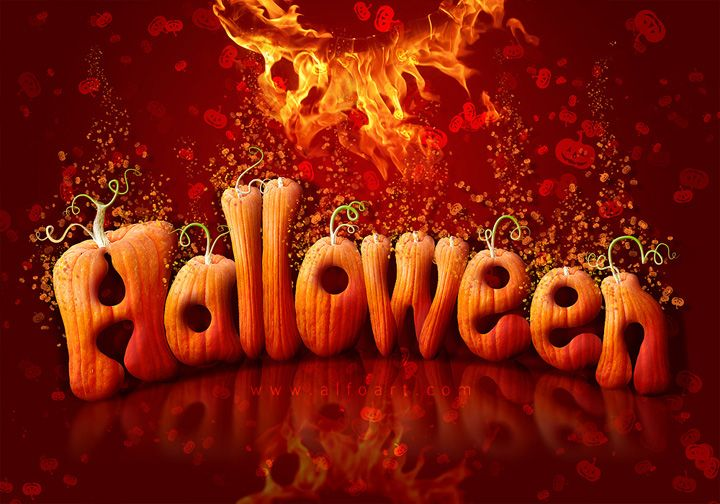 Halloween Style Font. How to create letters from pumpkin image with photoshop. Free pumpkin brushes.
