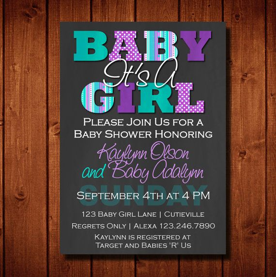 Baby shower invitation https://www.etsy.com/listing/197858319/modern-its-a-girl-baby-shower-invitation