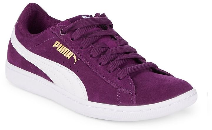PUMA Women's Vikky Sneakers - Contrasting detail feature this comfortable sneakers $39.99  Available Colors: Purple Available Sizes: 5.5 ,6 ,6.5 ,7 ,7.5 ,8 ,8.5  #fashion #style #sneakers #mystyle #shopstyle