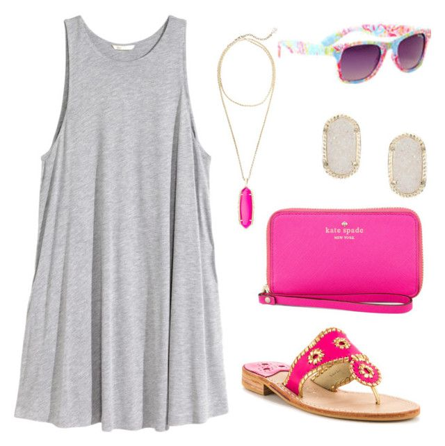 """""""Summer time"""" by zoetaggart ❤ liked on Polyvore featuring H&M, Kendra Scott, Kate Spade, Jack Rogers, women's clothing, women, female, woman, misses and juniors"""