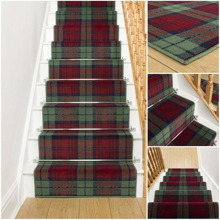 Tartan Red / Green - Stair Carpet Runner For Staircase Modern Quality Cheap New