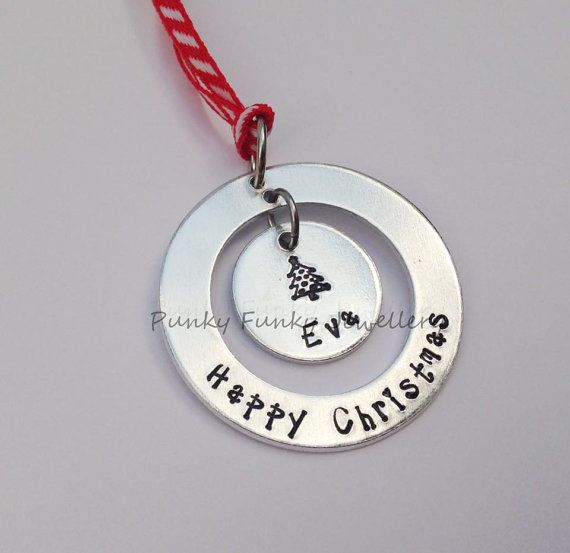 Personalised Christmas decoration  Happy by PFJewelleryshop