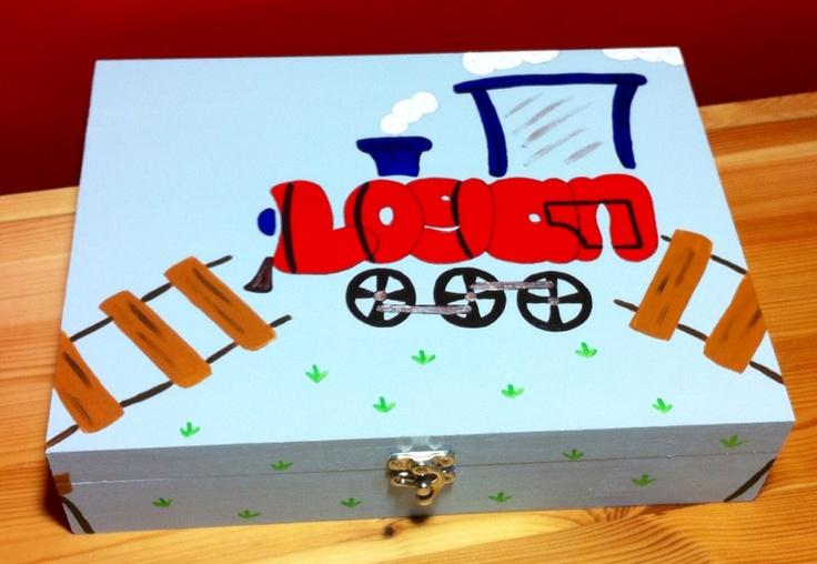 Train loving Logan's keepsake box