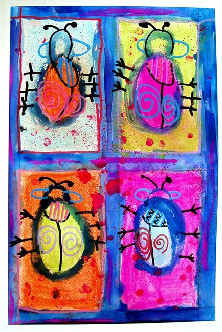 Four Fancy Beetles. Art Lesson for kids.
