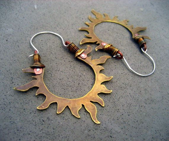 Solar Passion Hoop Earrings, Golden Sun, Handmade Mixed Metal Jewelry. $79.00, via Etsy.