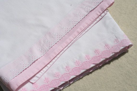 2 Vintage Baby Crib Sheets with Pink Lace Trim by pixiedustlinens, $26.00