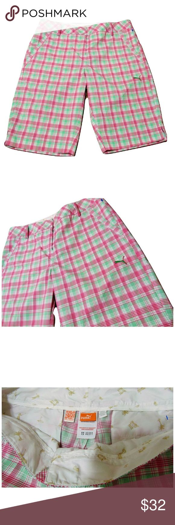"Womens Puma Pink Green Plaid Bremuda Shorts Includes: 1x Puma Sportlife Golf Shorts  Condition: NWOT  Size: 8  Color: Pink / Green  Design Features: Plaid  Length: 21""  Rise: 10""  Width: 17""  Inseam: 12"" Puma Shorts Bermudas"