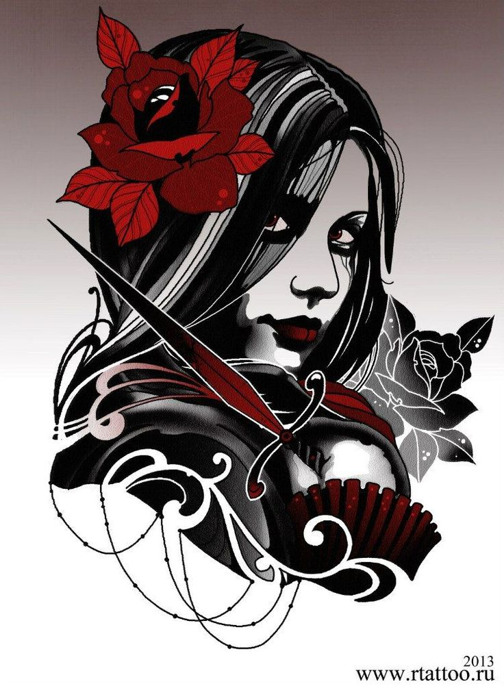 Эскиз девушки с кинжалом