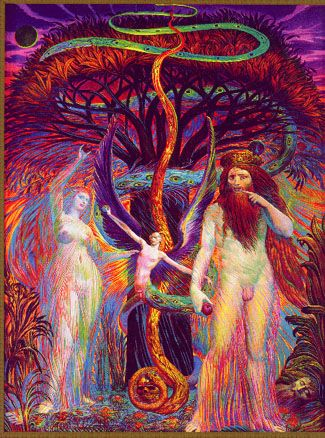 'Adam and Eve in front of the Tree of Knowledge'. One of 80 color illustrations in the 'Golden Bible' of Ernst Fuchs, which he called the 'high point' of his artistic work.