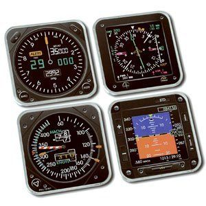 "Modern Instrument Theme Coaster Set . $17.99. Instrument face design coasters for your favorite beverage. Made to look like cutting-edge aviation instruments.        Modern Instrument Coasters include: Airspeed indicator, Altitude indicator, EADI (Electronic Artificial Director Indicator), and HIS. 4"" x 4"""