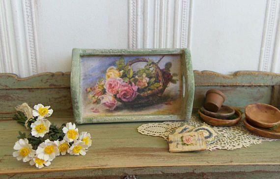 Plateau miniature en bois Décor imprimé roses victoriennes