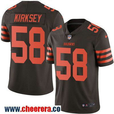 Men's Cleveland Browns #58 Christian Kirksey Brown 2016 Color Rush Stitched NFL Nike Limited Jersey