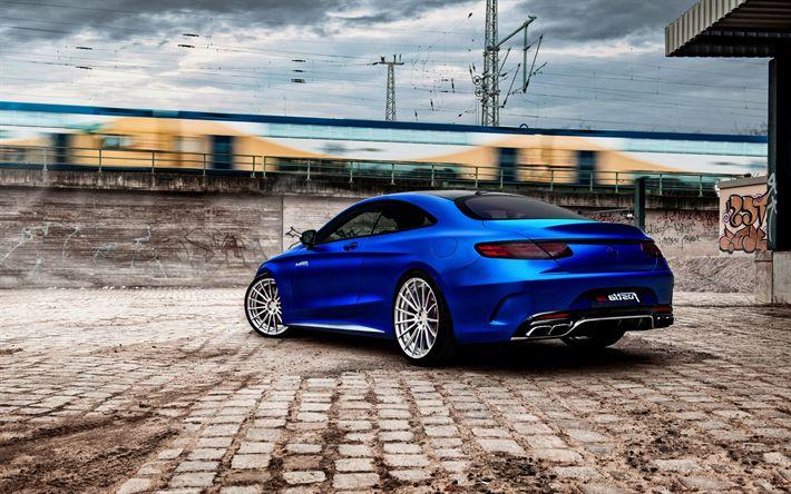 Download imagens Mercedes S-Class, 2017, AMG, S-Classe E Coupé, C217, azul fosco, ajuste de S-Classe, Carros alemães, Mercedes