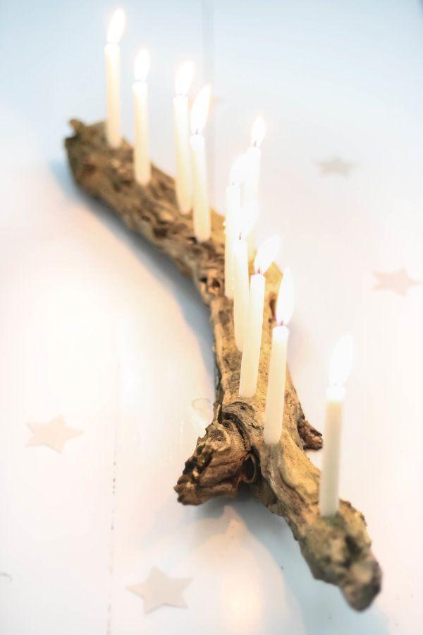 Idee für ein paar Plätze im Garten : DIY Kerzenhalter aus einem Ast / branch candle holder