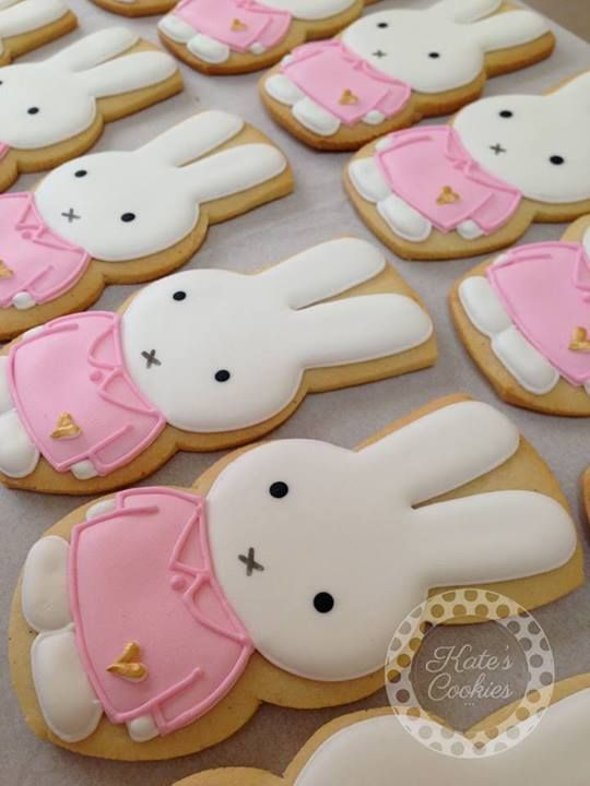 Bunny cookies~                             By Kate's cookies, pink, white