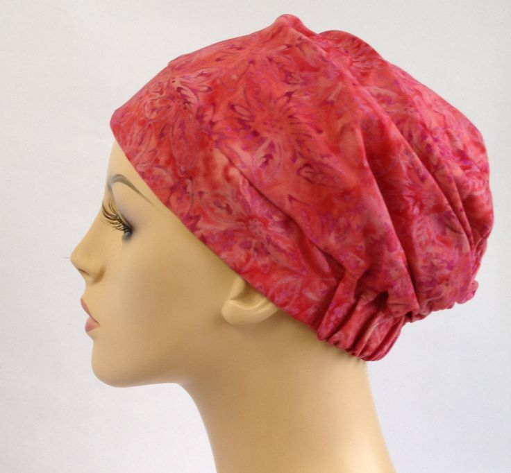 Turban Hat, Chemo Hat, Sleep Hat, Alopecia Cap, Slouch Hat, Pink floral, Rayon Batik, Boho