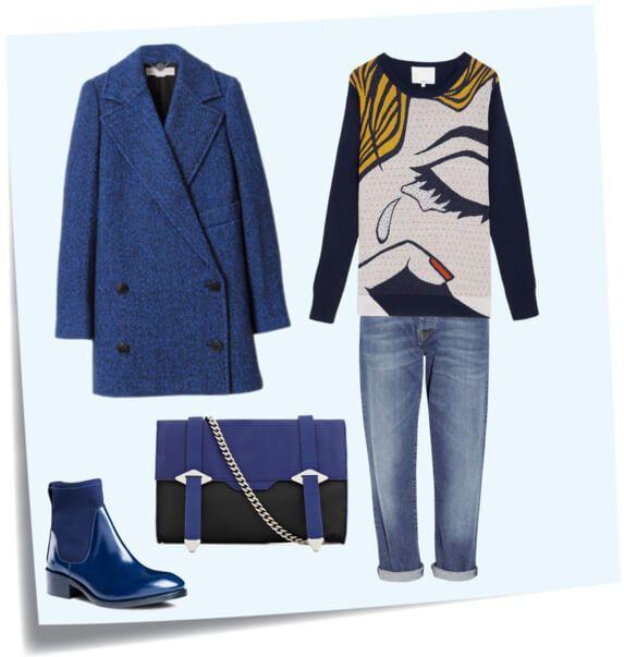 Синие джинсы, синее пальто, синие полусапожки, черно-синий клатч, темно-синий свитшот с рисунком.