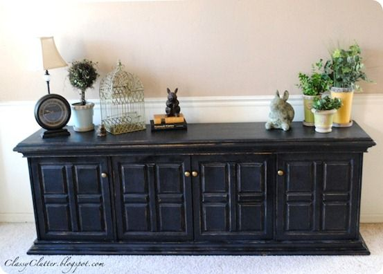 Distressed Black BuffetDestress Black, Pottery Barns Style, Furniture Tutorials, Cabinets Makeovers, Painting Furniture, Buffets Makeovers, Distressed Furniture, Black Buffets, Black Furniture