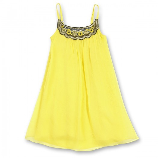 DRESS WITH SUSPENDERS & EMBRODERIED YOKE YELLOW DS3PETRA