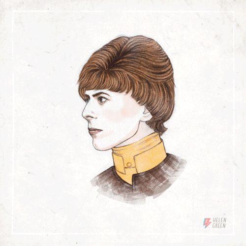 Helen Green a dessinée et animée en gif les coupes de cheveux de David Bowie de ses débuts en 1964 à cette année. [Via]