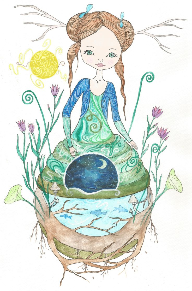 Earth Mother watercolor by Bencze Anita Turquoise Janina illustration