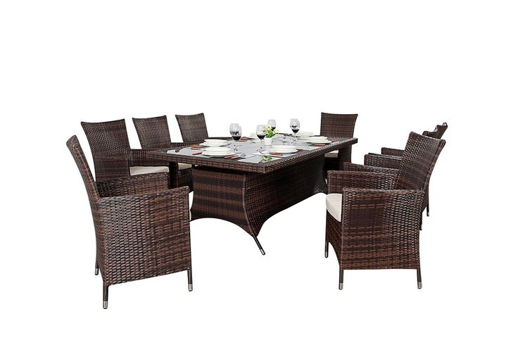 http://www.bonsoni.com/bonsoni-rectangle-dining-set-8-piece-colour-brown-includes-a-rectangular-glass-top-table-eight-chairs-and-a-parasol-rattan-garden-furniture  All sets are constructed with an aluminium framework and a multi weave effect poly rattan in either black or a multi tonal brown.  http://www.bonsoni.com/bonsoni-rectangle-dining-set-8-piece-colour-brown-includes-a-rectangular-glass-top-table-eight-chairs-and-a-parasol-rattan-garden-furniture