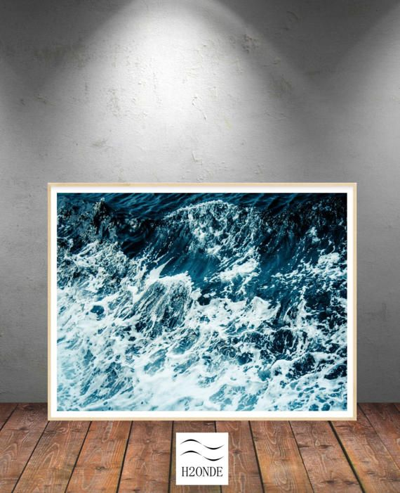 Ocean waves digital print sea foam blue instant download by H2ONDE